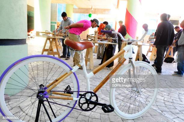 A finish product of a bamboo bicycle being displayed in the workshop