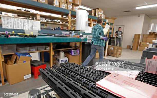 Finished AR15 rifle barrels are stacked on a cart at Delta Team Tactical in Orem Utah on March 20 2020 Gun stores in the US are reporting a surge in...