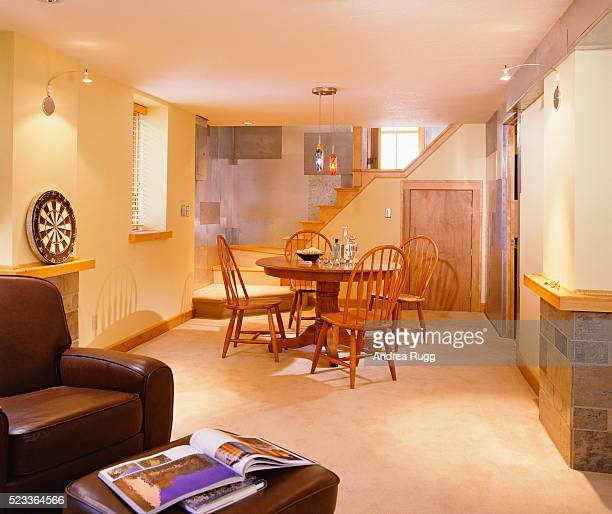 finished basement with metal paneling - basement stock pictures, royalty-free photos & images