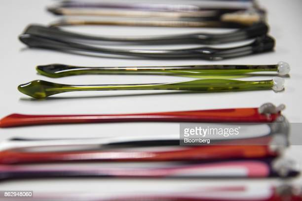 Finished eyeglass temples sit on a table at a Nagai Co factory in Sabae Fukui prefecture Japan on Tuesday Oct 10 2017 Fukui Prefecture has one of the...