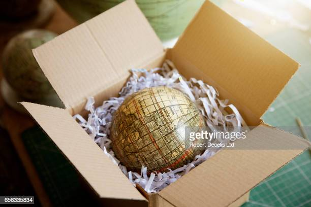 Finished globe in box ready to be sent off