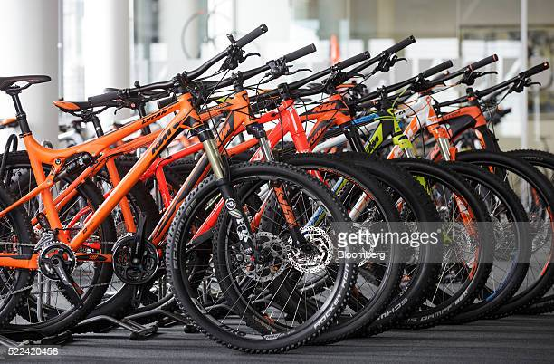 Finished mountain bikes sits inside the KTM Fahrrad GmbH bicycle manufacturing facility in Mattighofen Austria on Wednesday April 6 2016 Chinese...