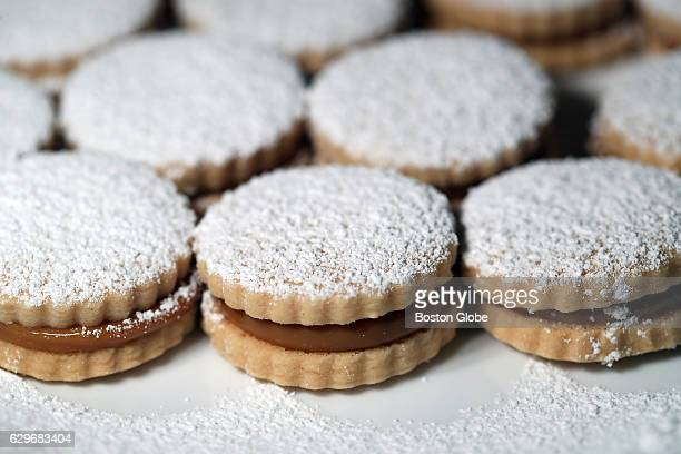A finished plate of Doris Montoya's alfajores a Peruvian cookies in her home bakery called Doris Peruvian Pastries in Marlborough Mass on Nov 12 2016
