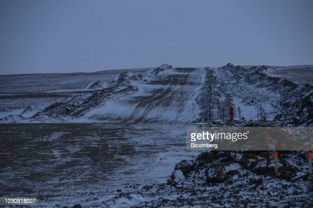 Finished right of way along the path of covered pipe for the Keystone XL pipeline in Oyen, Alberta, Canada, on Tuesday, Jan. 26, 2021. U.S. President...