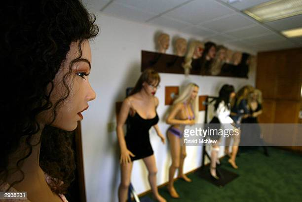 Finished silicone RealDoll sex dolls are seen at the Abyss Creations factory on February 5 2004 in San Marcos California RealDolls are created using...
