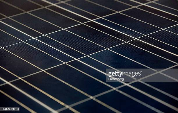 A finished solar panel sits before being boxed up at the Suntech Power Holdings Co Ltd facility in Goodyear Arizona US on Monday June 18 2012 Suntech...