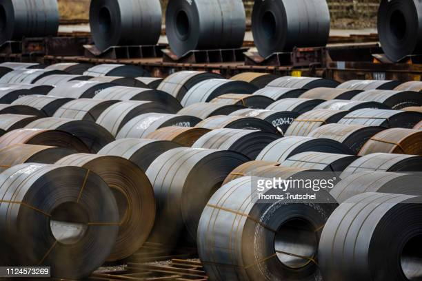 Finished steel coils stored at ArcelorMittal Eisenhuettenstadt Germany Holding steel mill on February 11 2019 in Eisenhuettenstadt Germany