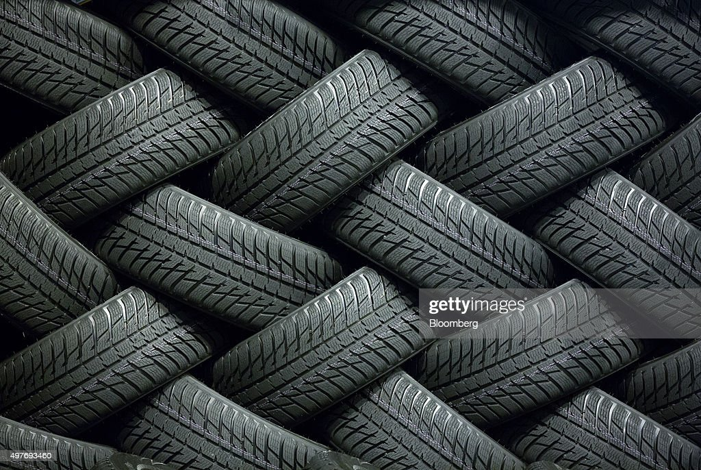 Finished tyres sit in a storage area inside the Vsevolozhsk tyre manufacturing plant, operated by Nokian Renkaat Oyj in Vsevolozhsk, near St. Petersburg, on Tuesday, Nov. 17, 2015. Nokian Renkaat Oyj, the biggest tyre producer in the Nordic region, exports tyres to more than 40 countries making Nokian Tyres the largest exporter of consumer goods in Russia. Photographer: Andrey Rudakov/Bloomberg via Getty Images