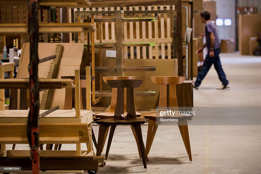 Finished Wooden Chairs Sits On The Floor Of The Copeland Furniture  Manufacturing Facility In Bradford,