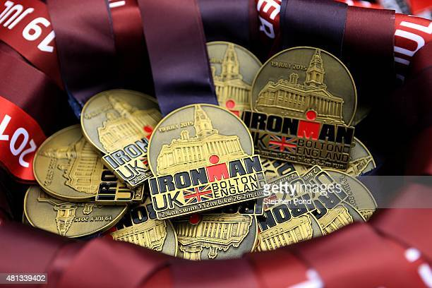 Finisher medals on display during the Ironman UK event on July 19 2015 in Bolton England