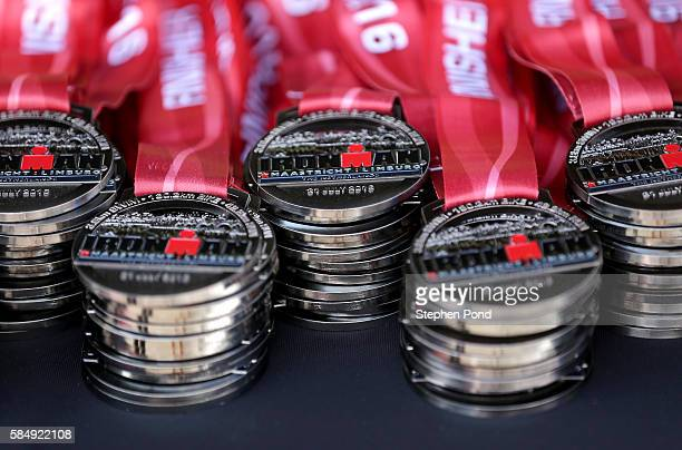 Finisher medals ready to be presented during Ironman Maastricht on July 31 2016 in Maastricht Netherlands