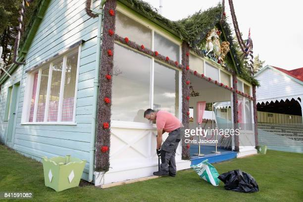 Finishing touches are put to the Royal Box ahead of the 2017 Braemar Gathering at The Princess Royal and Duke of Fife Memorial Park on September 1...