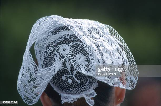 Finistere the Cornouaille Pont l Abbe folk festival of the Embroiderers the second weekend in July a traditional headdress Brittany France