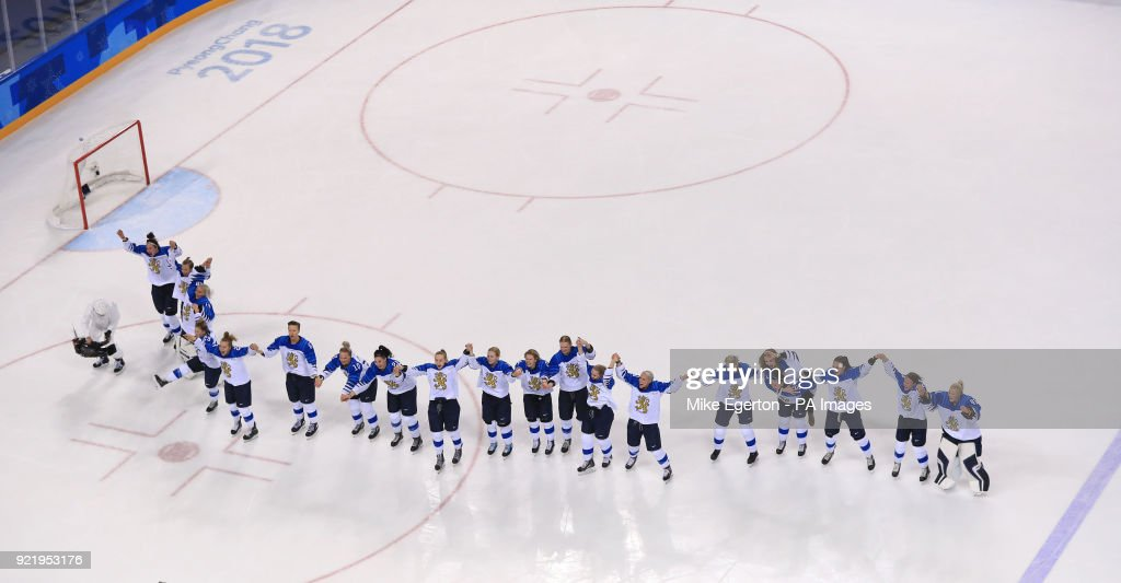Finland celebrate winning a bronze medal in their match with Russia in the Women's Ice Hockey at the Kwandong Hockey Centre during day twelve of the PyeongChang 2018 Winter Olympic Games in South Korea.