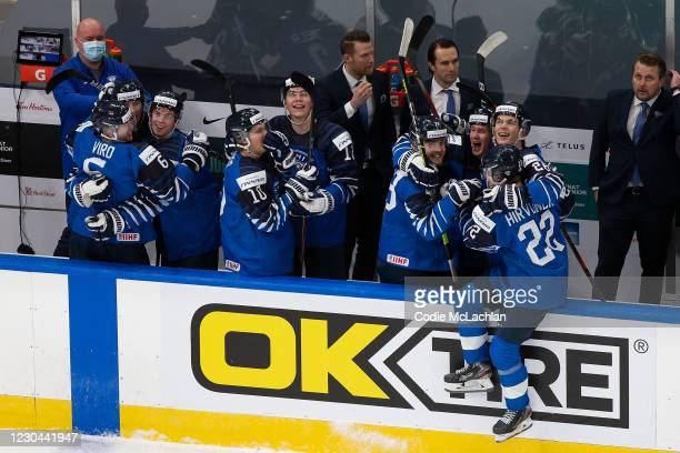 Finland celebrates victory over Russia during the 2021 IIHF World Junior Championship bronze medal game at Rogers Place on January 5, 2021 in...