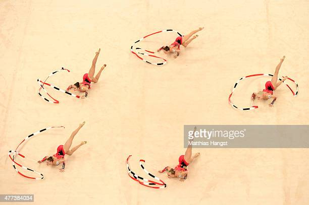 Finland compete in the Rhythmic Gymnastics Group AllAround final during day five of the Baku 2015 European Games at the National Gymnastics Arena on...
