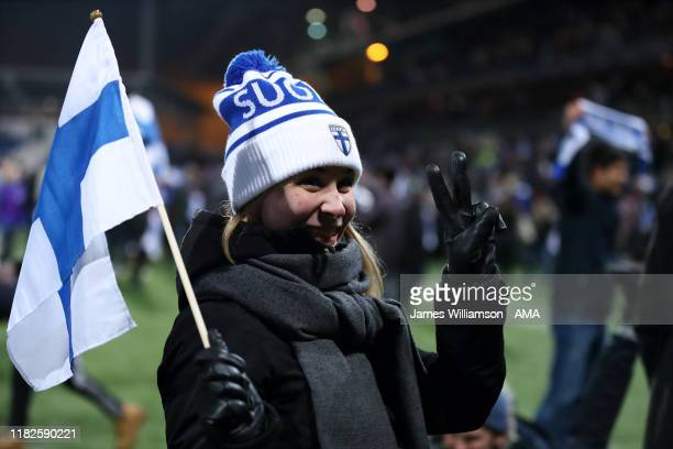 Finland fan celebrates at full time of the UEFA Euro 2020 Qualifier between Finland and Liechtenstein on November 15, 2019 in Helsinki, Finland.