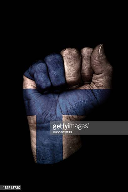 finland flag fist - finnish flag stock photos and pictures