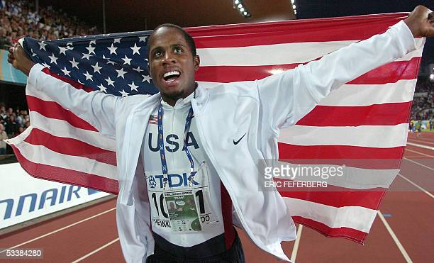 Gold medalist Dwight Phillips of USA celebrates after the men's long jump final at the 10th IAAF World Athletics Championships in Helsinki 13 August...