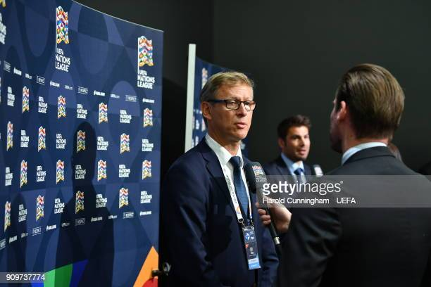 Finland head coach Markku Kanerva is interviewed following the UEFA Nations League Draw on January 24 2018 in Lausanne Switzerland