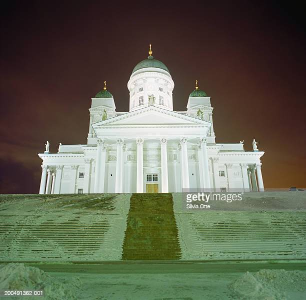 Finland, Helsinki, Lutheran Cathedral at night