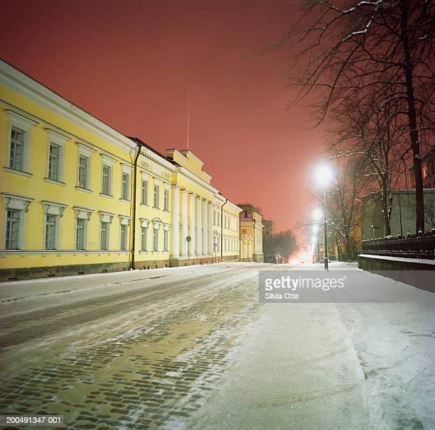 Finland, Helsinki, Unioninkatu, Senate Square at night