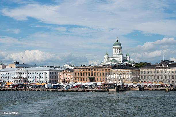 finland, helsinki, view to city from the harbour with helsinki cathedral - helsinki stock pictures, royalty-free photos & images