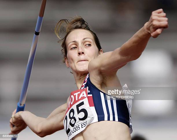 kelly Sotherton of Great Britain competes during the women's javelin throw heptathlon at the 10th IAAF World Athletics Championships in Helsinki 07...