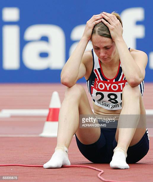 Kelly Sotherton of Great Britain reacts during the women's javelin throw heptathlon at the 10th IAAF World Athletics Championships in Helsinki 07...