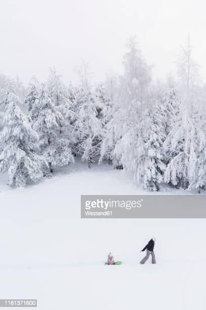 finland, kuopio, mother and daughter with sledge in winter forest - snötäckt bildbanksfoton och bilder