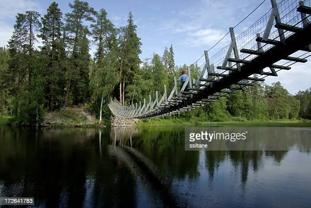 Finland Kuusamo Lake Bridge