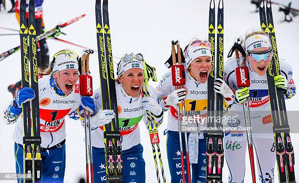 Finland ladies team takes 3rd place during the FIS Nordic World Ski Championships Women's CrossCountry Relay on February 26 2015 in Falun Sweden