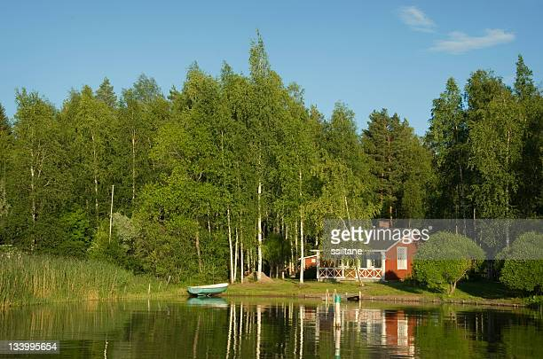 finland lake summer cottage - finland stock pictures, royalty-free photos & images