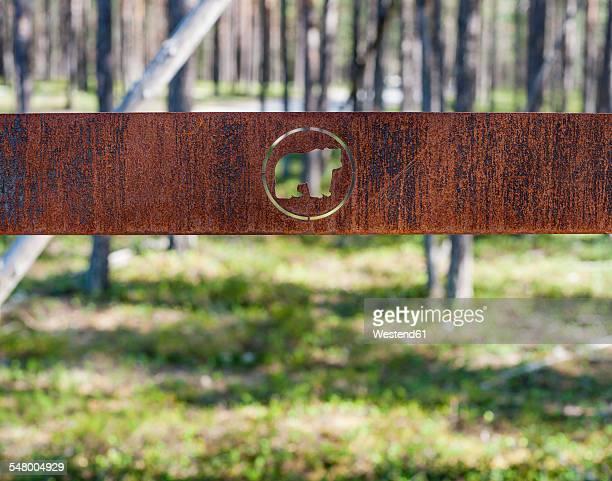 Finland, Lapland, Kuusamo, Oulanka National Park, sign of Bears Ring hiking trail