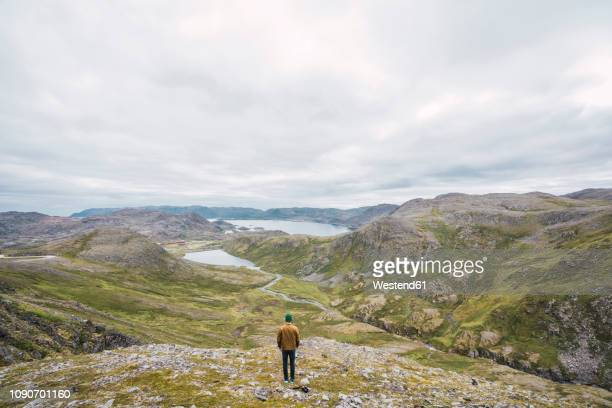 Finland, Lapland, man standing on a hill in stunning landscape