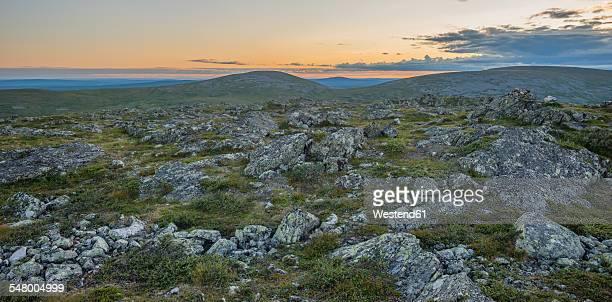 Finland, Lapland, Pallas-Yllaestunturi National Park, view from Pallas fell at night