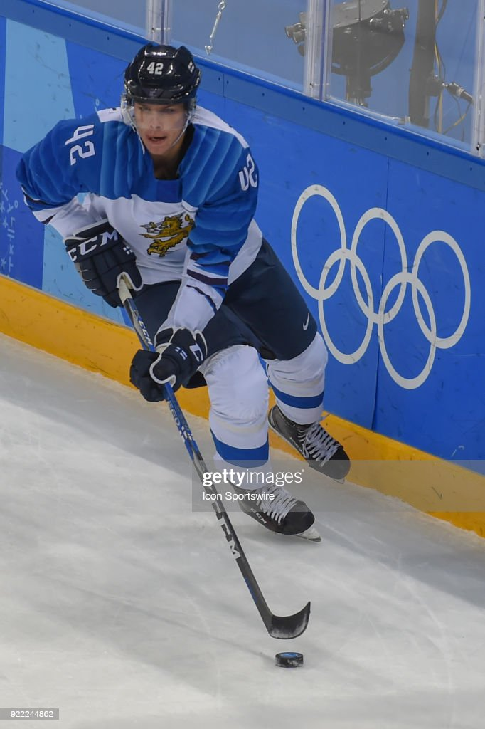 Finland men's hockey defender Heiskanen Miro (42) looks to pass during the men's hockey semi final game between Canada and Finland during the 2018 Winter Olympic Games at the Gangneung Hockey Center on February 21, 2018 in PyeongChang, South Korea. Canada advances to the gold medal game with 1-0 victory.