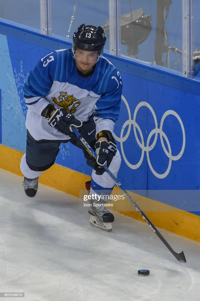 Finland men's hockey forward Junttila Julius (13) looks to pass during the men's hockey semi final game between Canada and Finland during the 2018 Winter Olympic Games at the Gangneung Hockey Center on February 21, 2018 in PyeongChang, South Korea. Canada advances to the gold medal game with 1-0 victory.