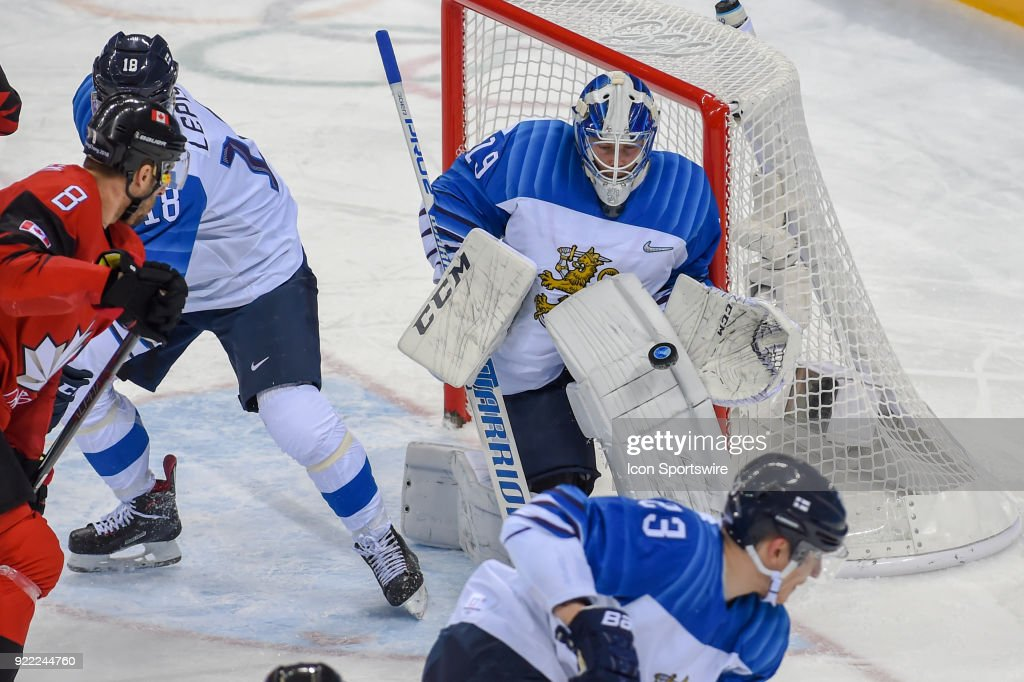 Finland men's hockey goalie Koskinen Mikko (19) makes a second period save during the men's hockey semi final game between Canada and Finland during the 2018 Winter Olympic Games at the Gangneung Hockey Center on February 21, 2018 in PyeongChang, South Korea. Canada advances to the gold medal game with 1-0 victory.