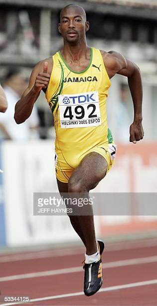 Michael Blackwood of Jamaica competes during the men's 400m qualification heats at the 10th IAAF World Athletics Championships in Helsinki 09 August...