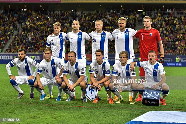 Finland national team at the begining of the UEFA Euro 2016 Qualifying Round Group F game between Romania national football team vs Finland national...