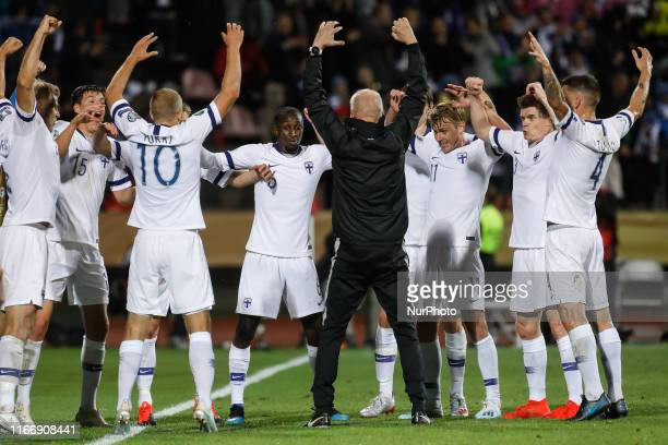 Finland players celebrate a goal during UEFA Euro 2020 qualifying match between Finland and Italy on September 8, 2019 at Ratina Stadium in Tampere,...