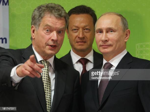 Finland President Sauli Niinisto and Russian President Vladimir Putin attend the opening of the new gasfired thermal power plant Nyagan GRES on...