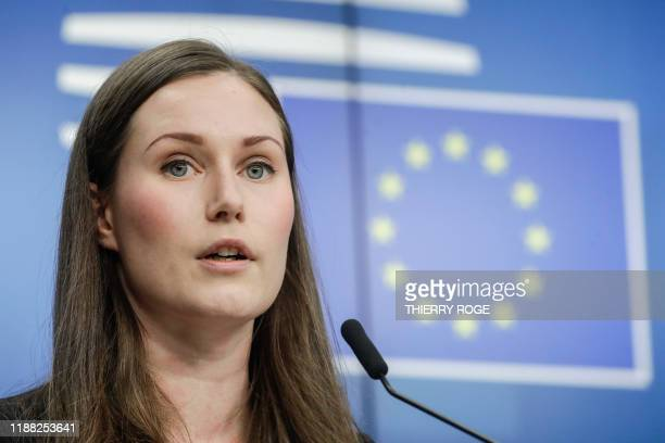 Finland Prime Minister Sanna Marin holds a press conference at the end of the second day of the EU summit meeting Friday 13 December 2019 at the...