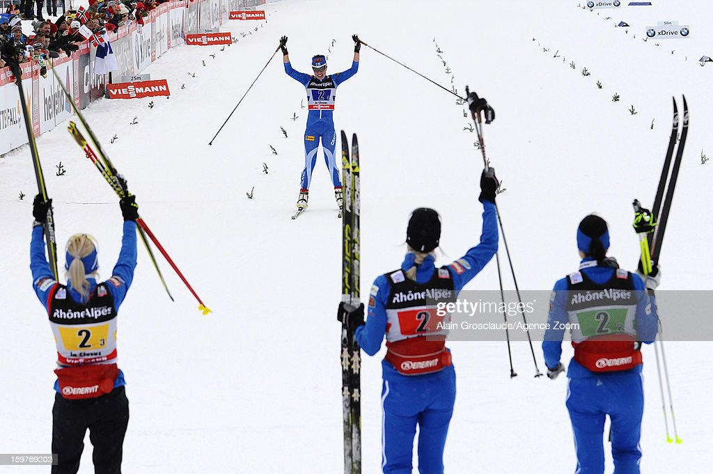 Finland takes 2nd place during the FIS Cross-Country World Cup Women's Relay Start on January 20, 2013 in La Clusaz, France.