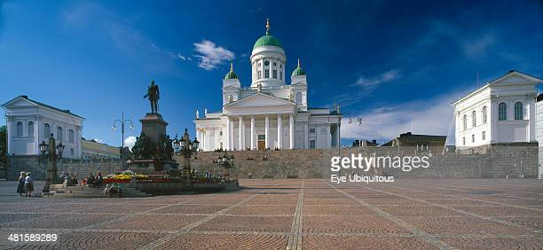 Finland Uusimaa Helsinki Lutheran Cathedral also known as Tuomiokirkko seen from Senate Square