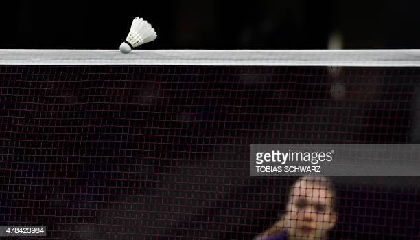 Finland's Airi Mikkela plays against Bulgaria's Linda Zetchiri during their women's singles badminton match at the 2015 European Games in Baku June...