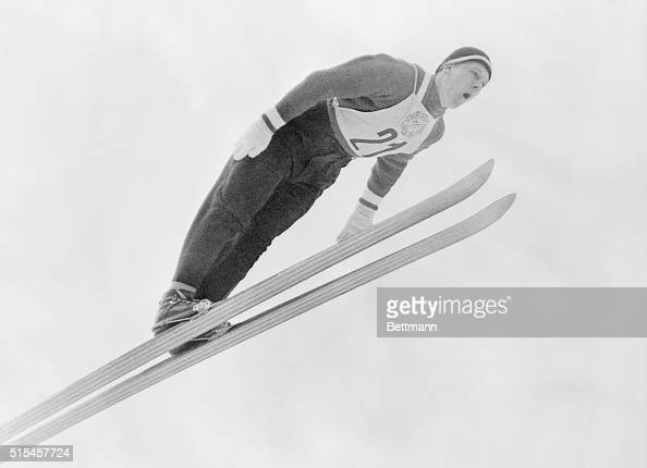 Finland's Antti Hyvarinen is almost parallel with his skiis as he leaps to victory to win the last Gold Medal of the Winter Olympics in the Special...