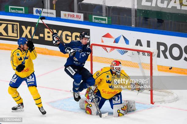 Finland's Artuu Ilomaki in action during the Channel One Cup of the Euro Hockey Tour ice hockey match between Finland and Sweden at CSKA Arena in...