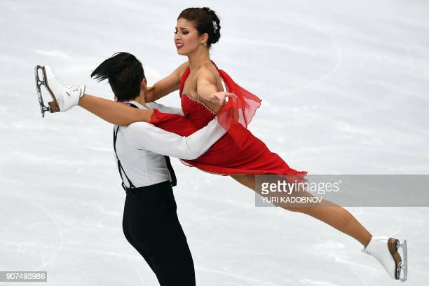 TOPSHOT Finland's Cecilia Torn and Jussiville Partanen perform during their ice dance free dance at the ISU European Figure Skating Championships in...